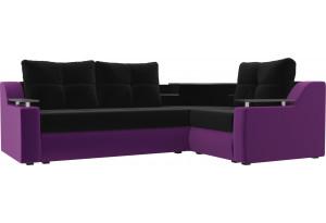 Угловой диван Тесей Черный/ Фиолетовый (Микровельвет)