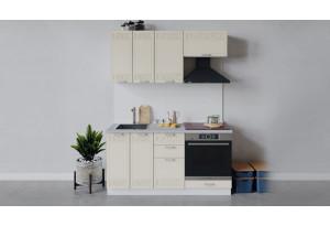 Кухонный гарнитур «Долорес» длиной 160 см со шкафом НБ (Белый/Крем)