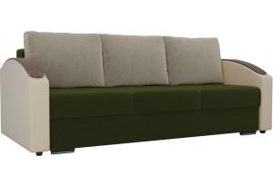 Прямой диван Монако slide Зеленый/Бежевый (Микровельвет/Экокожа)