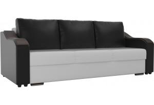 Прямой диван Монако Белый/Черный (Экокожа)