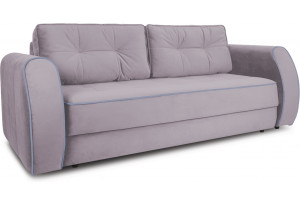 Диван «Хьюго» (Poseidon Pale Lavender (иск.замша) бледно-лавандовый, кант Poseidon Blue Graphite серо-фиолетовый)
