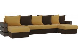 П-образный диван Венеция Желтый/коричневый (Микровельвет)