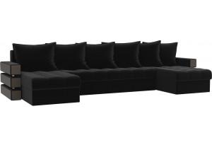 П-образный диван Венеция Черный (Микровельвет)