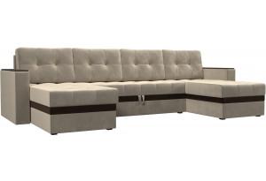 П-образный диван Атланта Бежевый (Микровельвет)