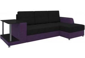 Угловой диван Атланта черный/фиолетовый (Микровельвет)