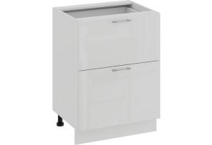 Шкаф напольный с двумя ящиками «Весна» (Белый/Белый глянец)