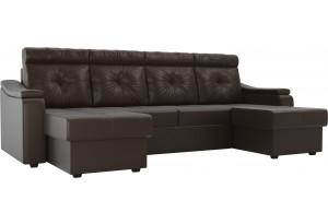 П-образный диван Джастин Коричневый (Экокожа)