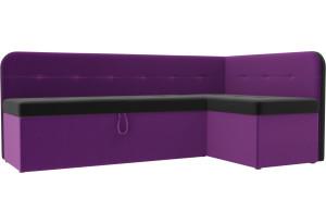 Кухонный угловой диван Форест черный/фиолетовый (Микровельвет)
