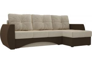 Угловой диван Сатурн бежевый/коричневый (Микровельвет)