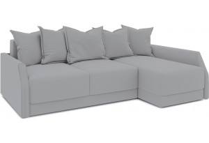 Диван угловой правый «Люксор Slim Т2» (Poseidon Grey (иск.замша) серый)