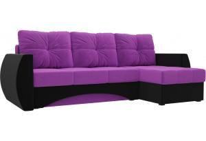 Угловой диван Сатурн Фиолетовый/Черный (Микровельвет)