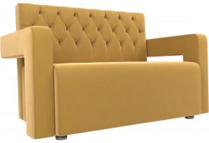 Прямой диван Рамос Люкс 2-х местный Желтый (Микровельвет)