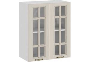 Шкаф навесной c двумя дверями со стеклом «Лина» (Белый/Крем)