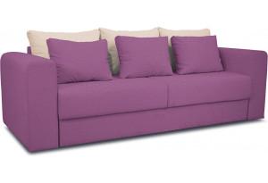 Диван «Вилсон» Maserati 18 (велюр) фиолетовый, подушка Miami 01 (рогожка), песочный