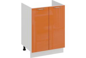 Шкаф напольный с двумя дверями (под накладную мойку) «Весна» (Белый/Оранж глянец)