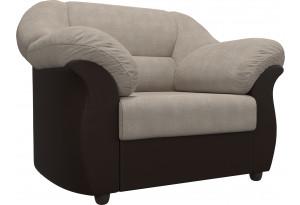 Кресло Карнелла бежевый/коричневый (Рогожка/Экокожа)