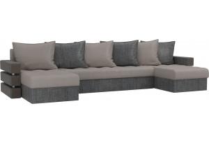 П-образный диван Венеция бежевый/Серый (Рогожка)