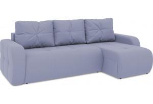 Диван угловой правый «Томас Т1» (Poseidon Blue Graphite (иск.замша) серо-фиолетовый)