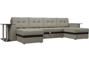 П-образный диван Атланта со столом корфу 02 (Рогожка)