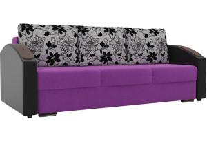 Прямой диван Монако slide Фиолетовый/Черный (Микровельвет/Экокожа/флок на рогожке)