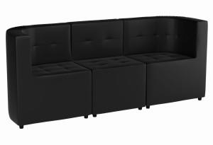 Модульный диван комплект Домино Черный (Экокожа)