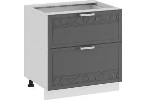 Шкаф напольный с двумя ящиками «Долорес» (Белый/Титан)