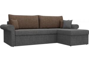 Угловой диван Милфорд Серый/коричневый (Рогожка)