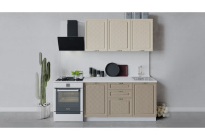 Кухонный гарнитур «Бьянка» длиной 150 см (Белый/Дуб ваниль/Дуб кофе)