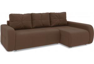 Диван угловой правый «Томас Т2» Beauty 04 (велюр) коричневый