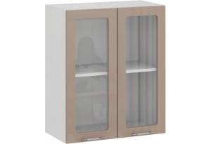 Шкаф навесной c двумя дверями со стеклом «Весна» (Белый/Кофе с молоком)
