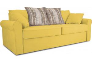 Диван «Шерри» Maserati 11 (велюр) желтый, подушки Tiffany wood (шинил) древесный