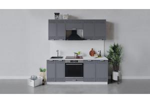 Кухонный гарнитур «Долорес» длиной 200 см со шкафом НБ (Белый/Титан)
