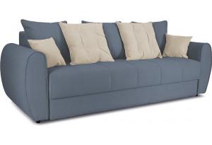 Диван «Бернард» Neo 07 (рогожка) светло-серый, подушка Neo 02 (рогожка) бежевый
