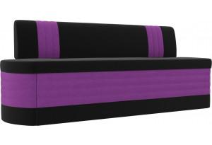 Кухонный прямой диван Токио черный/фиолетовый (Микровельвет)