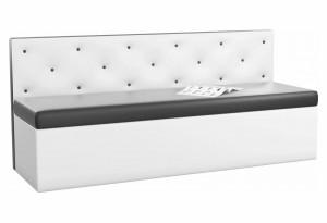 Кухонный прямой диван Салвадор Черный/Белый (Экокожа)