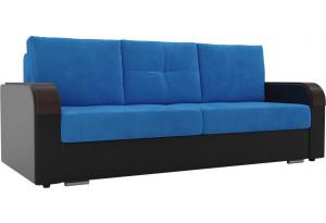 Прямой диван Мейсон голубой/черный (Велюр/Экокожа)