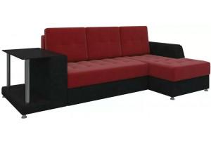 Угловой диван Атланта красный/Черный (Микровельвет)
