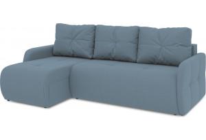 Диван угловой левый «Томас Slim Т1» (Poseidon Ocean (иск.замша) серо-голубой)
