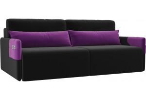 Прямой диван Армада черный/фиолетовый (Микровельвет)