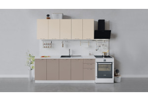 Кухонный гарнитур «Весна» длиной 200 см (Белый/Ваниль глянец/Кофе с молоком)