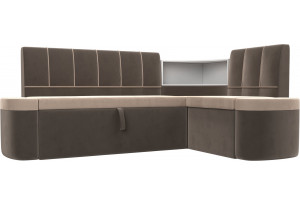 Кухонный угловой диван Тефида бежевый/коричневый (Велюр)