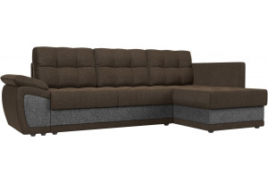 Угловой диван Нэстор прайм коричневый/Серый (Рогожка)