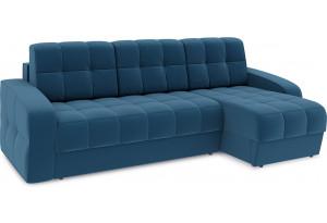 Диван угловой правый «Аспен Т1» Beauty 07 (велюр) синий