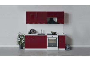 Кухонный гарнитур «Весна» длиной 220 см (Белый/Бордо глянец)
