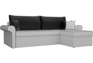 Угловой диван Милфорд Белый/Черный (Экокожа)