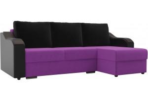 Угловой диван Монако Фиолетовый/Черный/Черный (Микровельвет/Экокожа)
