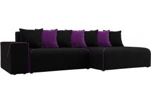 Диван угловой Кёльн черный/фиолетовый (Микровельвет)