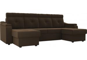 П-образный диван Джастин Коричневый (Микровельвет)