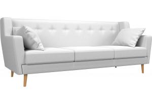 Прямой диван Брайтон 3 Белый (Экокожа)