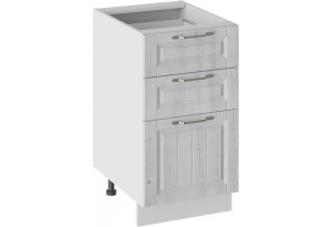 Шкаф напольный с 3-мя ящиками (ПРОВАНС (Белый глянец/Санторини светлый))